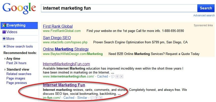 The difference in traffic for page 1 Google positions - Internet Marketing Fun