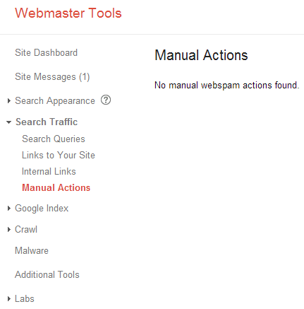 Google Webmaster Tools - Manual Actions