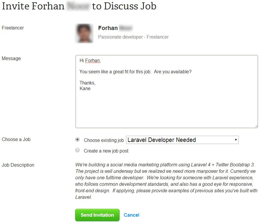 oDesk - job invite